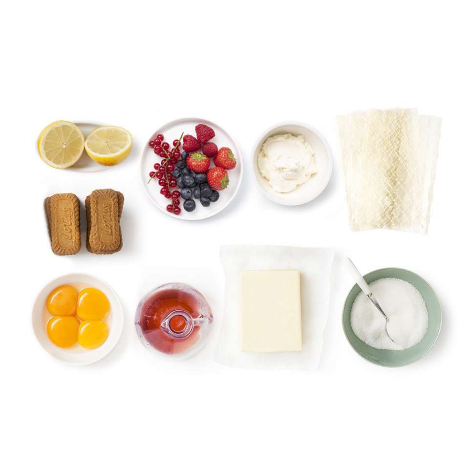 ingredients recette Cheesecake, biscuit Speculoos et fruits rouges